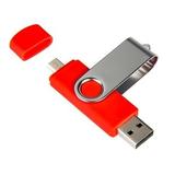 Флешка адаптер OTG Дабл твист, пластиковая, красная, 32Гб фото