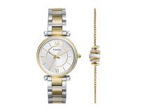 Подарочный набор: часы наручные женские, браслет, цвет серебристый/золотой фото