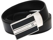Ремень Montblanc, двухцветная матовая пряжка-бляха, черный/коричневый/серебряный фото