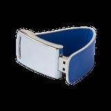Флешка Элегант, металлическая с кожаными вставками, синяя, 16Гб фото