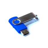 Флешка Твист, пластиковая с металлической крышкой, синяя, 16Гб фото