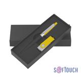 Набор ручка + флеш-карта 16 Гб в футляре, покрытие soft touch, черный/желтый фото