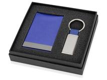 Набор: визитница вертикальная и брелок прямоугольный, синий/графит фото