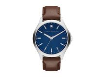 Часы наручные, мужские, серебряный/серый, синий, коричневый фото
