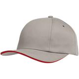 Бейсболка Bizbolka Canopy, серая с красным кантом фото