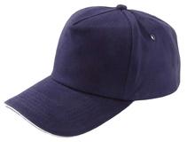 Бейсболка Unit Classic, темно-синяя с белым кантом фото
