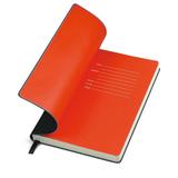 Бизнес-блокнот Funky, 130*210 мм, черный, красный форзац, мягкая обложка, в линейку фото
