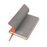 Бизнес-блокнот в клетку Funky А6, оранжевый/серый форзац фото
