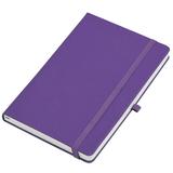 Бизнес-блокнот Justy, 130*210 мм, ярко-фиолетовый, тв. обложка, резинка 7 мм, блок-линейка фото