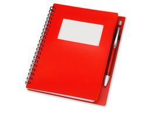 Блокнот в линейку на пружине с авторучкой Контакт, 70 листов, красный фото