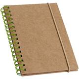 Блокнот Mainspring, 60 стр., бежевый с зеленой пружиной фото