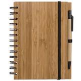 Блокнот на пружине с авторучкой Bamboo A6, 70 листов, древесный фото