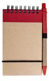 Блокнот на пружине с авторучкой Eco note A7, 50 листов, красный фото