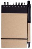 Блокнот на пружине с авторучкой Eco note A7, 50 листов, черный фото
