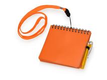 Блокнот с авторучкой на ремешке, 115х115мм, 60 страниц, оранжевый фото
