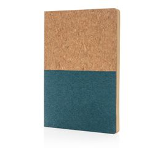 Блокнот в пробковой обложке A5, 80 листов, крафт/синий фото