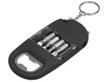 Брелок-открывалка с отвертками и фонариком Uni софт-тач, чёрный фото
