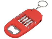 Брелок-открывалка с отвертками и фонариком Uni софт-тач, красный фото