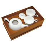 Чайный набор Five o`clock:чайник и две чайные пары в подарочной коробке, белый фото