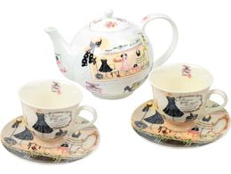 Чайный сервиз Высокая мода, белый, бежевый, разноцветный фото