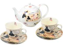 Чайный сервиз Высокая мода: заварочный чайник и чашки с блюдцами на 2 персоны, белый бежевый  разноцветный фото