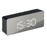 Часы-будильник, зеркальный дизайн, черный фото