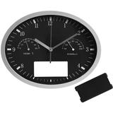Часы настенные INSERT3 с термометром и гигрометром, черные фото