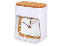 Часы настольные Cork, белый, коричневый фото