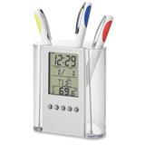 Часы с подставкой для ручки, прозрачный фото