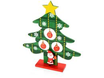 Декоративная елочка c игрушками и Дедом Морозом, зеленый фото
