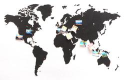 Деревянная карта мира World Map True Puzzle Large, черная фото
