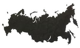 Деревянная карта России, черная фото