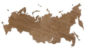 Деревянная карта России, орех фото