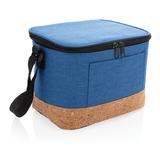 Двухцветная сумка-холодильник с пробковой отделкой, голубая фото