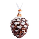 Елочное украшение Заснеженная шишка, коричневое фото