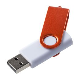 Флешка Twist Color, белая с оранжевым, 8 Гб фото