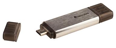 Флешка Uniscend Doubles, серебристая, 16 Гб фото