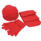 Флисовый набор Metel: шапка, шарф, перчатки, красный фото