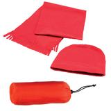 Флисовый набор Winter шапка и шарф в чехле, красный фото