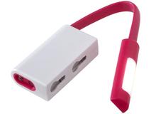 Фонарик с карабином Libra, розовый/ белый фото