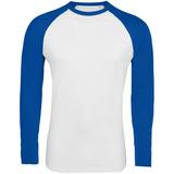 Футболка мужская Sol's Funky LSL, длинные рукава, белая/ярко-синяя фото