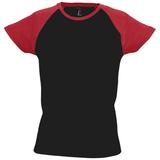Футболка женская MILKY 150, черная с красным фото