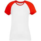 Футболка женская T-bolka Bicolor Lady, белая с красным фото