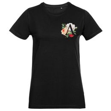 Футболка женская «Цветочная азбука: А», черная фото