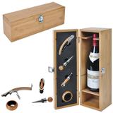 Футляр для бутылки с винными принадлежностями (4 предмета), бежевый фото