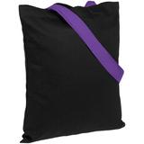 Холщовая сумка BrighTone, черная с фиолетовыми ручками фото