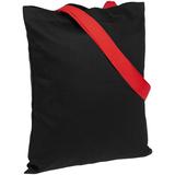 Холщовая сумка BrighTone, черная с красными ручками фото
