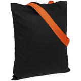 Холщовая сумка BrighTone, черная с оранжевыми ручками фото