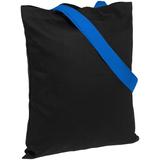 Холщовая сумка BrighTone, черная с ярко-синими ручками фото