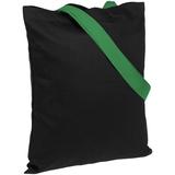 Холщовая сумка BrighTone, черная с зелеными ручками фото